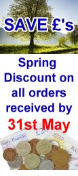 Save Pounds - Spring discount on all orders received by end of May