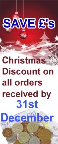 Save Pounds - Special Christmas discount on all orders received by 31st December